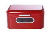 Bread Box For Kitchen - Bread Bin Storage Container For Loaves, Pastries, and More 12 x 18cm x 16cm , Red by Juvale
