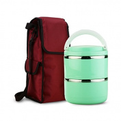 FG.X.YL Stainless Steel Students Keep-Warm Lunch Boxes Double Insulation Barrel Hand Bento Boxes34Layer Leakproof,Green2Layer