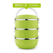FG.X.YL The Stainless Steel Vacuum Flask Lunch Boxes 1234Click Double Cell Students Bento Boxes Children Have To Draw The Inner Pot,Green3Layer2.1L