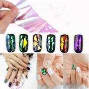 LHWY Nail Art Wrap Foils Nails Wraps Transfer Glitter Shattered Glass DIY Decal
