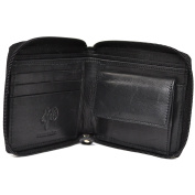 Men's Genuine Leather High Grade Wallet with Inner Money Pouch and Wrap Around Zip