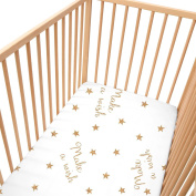 Baby Make A Wish (Stars) / Pack of 2 Fitted Sheet - SoulBedroom 100% Cotton Cot Bedding