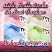 Baby Dreams 3 Baby Children's Duvet Set Bed Linen 3 Piece Set * HEARTS * 1 x Duvet Cover 135x100 cm and 1 x Pillow Case 60 x 40 cm + 1 x Cot Bumper 210X30 CM