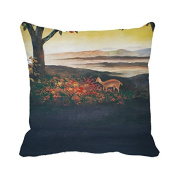Warrantyll Throw Pillow Cover the Deer and Flowers Pillowcase Home Couch Decorative Cushion 41cm *41cm