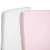 2x Toddler Bed / Junior Bed 100% Cotton Jersey Fitted Sheet 140x70cm White & Pink