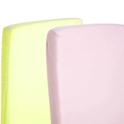 2x Toddler Bed / Junior Bed 100% Cotton Jersey Fitted Sheet 140x70cm Pink & Lemon