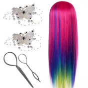 Neverland Beauty 70cm Rose Red Colourful Hair Training Head Model Hairdressing Braiding Dummy Practise Mannequin + 2Pcs Topsy Tail Hair Braid + 2Pcs Hair Barrettes