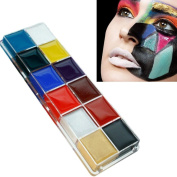 Qingsun Fashion Body Face Craft Paint Oil Painting 12 Colour Art Makeup Set for Thanksgiving Day/ Christmas/Halloween/Party