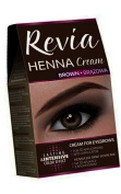 Revia Henna Cream Black Brown Eyebrow and Lashes 10 Applications Kit Tint