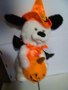 Animated plush dog with orange witch hat and pumpkin 25cm +13cm hat
