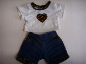 Build a Bear Workshop Girl Doll Clothes ; Leopard Print T Shirt & Denim Shorts