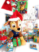 Paw Patrol Plush Chase . Tall! Paw Patrol Christmas Gift Set Jumbo Chase and 25 Art, Activity Candy Gifts! One of a Kind