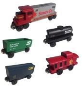 Santa Fe Warbonnet RAILWAY GP-38 Diesel 5pc. Set - Wooden Toy Train by Whittle Shortline Railroad