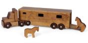 Toy Horse Carrier Wood Trailer Truck w/ Horses USA Handmade Set