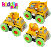Kiddie Play 3 Piece Set Battery Operated Stunt Tumbling Construction Vehicles Toys for Kids, Cement Mixer Truck, Excavator and Crane