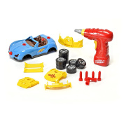 Build-Your-Own 30 Piece Racing Car Toy for Kids with Sounds and Lights, Includes Toy Power Drill by Brunfen Toys