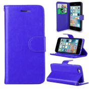 Blue Leather Flip Wallet Slim Case Cover Pouch With Card Holder For Apple iPhone SE 5 / 5S and Screen Protector With Polishing Cloth And Stylus Pen