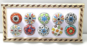 BLUE NIGHT Set of-10 Dotted Ceramic Cabinet Colourful Knobs Furniture Handle Drawer Pulls.