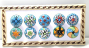 BLUE NIGHT Set of-10 Sky Blue Colour Ceramic Knobs Drawer Pulls with Different Design & Chrome Hardware Pottery Blue.