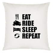 Eat Sleep Repeat Motorbike Design Large Cushion Cover with Filling