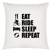Eat Sleep Repeat Cycling Design Large Cushion Cover with Filling