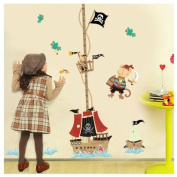 Pirate Measuring Tape Growthchart Height Chart Wall Sticker for Child's Room Gift!