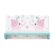 Hoddmimis Wall Shelf Coat Hooks Children Wooden Decorative Shelf Elephant ECR03