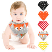 Baby Bibs @Almondcy Baby Bandana Drool Bibs Unisex, for Babies and Toddler, Pure Cotton . Bandana 5-Pack