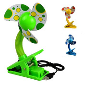 Portable Mini Safety Clip-on Fans Buggy Pram Stroller Cot Gym = green -lights ,WITH USB CABLE