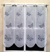 Brise Bise Net Curtain White Embroidered Butterfly Design 3261.58gr Grey 58 cm