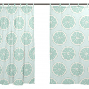 JSTEL 2 PCS Voile Window Curtain,Summer Hand Painted Lemon Green,Tulle Sheer Curtain Drape Valance 140cm x 200cm Two Panels Set