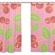 JSTEL 2 PCS Voile Window Curtain,Fruit Red Cherry,Tulle Sheer Curtain Drape Valance 140cm x 200cm Two Panels Set