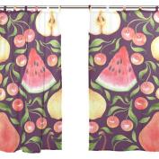 JSTEL 2 PCS Voile Window Curtain,Tropical Fruit Summer Colourful Watermelon Pear,Tulle Sheer Curtain Drape Valance 140cm x 200cm Two Panels Set