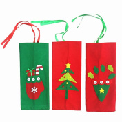 Ecloud Shop® 3pcs Christmas decorations wine bottle sets champagne red wine sets gift bags candy bags