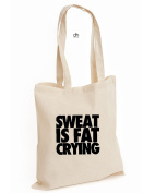 Sweat Is Fat Crying Unisex Gym Training Body Building Motivation Cotton Tote Bag
