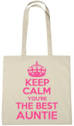 Keep Calm You're The Best Auntie Cotton Shopping Tote Bag, Novelty Christmas Birthday Gift Bag for Aunty
