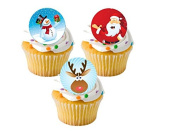 24 x Father Christmas Santa Snowman Rudolph Reindeer Festive Xmas Mixed STAND UP STANDUPS Fairy Muffin Cup Cake Toppers Decoration Edible Rice Wafer Paper