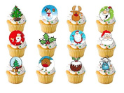 24 x Christmas Xmas Festive Mixed STAND UP STANDUPS Father Santa Snowman Rudolph Reindeer Fairy Muffin Cup Cake Toppers Decoration Edible Rice Wafer Paper