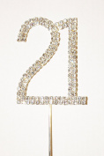 Number 21, Large Diamante Cake Topper. Stunning for Birthday Celebration Cakes