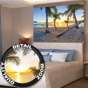 Poster Hammock at Palm Beach before sunset wall picture decoration Sun Caribbean holiday summer beach sea palm trees | Wallposter Photoposter wall mural wall decor by GREAT ART