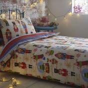 Nutcracker Stocking Christmas Quilt Duvet Cover Bedding Bed Set