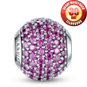 Glamulet 925 Sterling Sliver Lucky Birthstone Paved Crystal Charms Beads Fits Pandora Bracelet, October Magenta Ideal Jewellery Gifts for Birthday, Anniversary, for Women, Mom, Wife, Girls