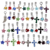 RUBYCA Mix Assortment Crystal Dangle Pendant Charm Beads Cross Flower Heart fit European Bracelet