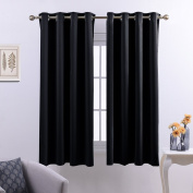 Black Thermal Eyelet Curtain Panels - PONY DANCE (W 52 x L 140cm , Black, 2 Pieces) Room Darkening Light Blocking Curtains Window Treatments Drapery for Bedroom & Kitchen Energy Saving Privacy Protect