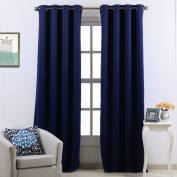 Blue Window Curtains Light Blocking - PONY DANCE (Width 130cm by Drop 240cm , Navy Blue, 1 Pair) Eyelet Drape Curtains Home Decoration for Living Room / Soft Drapery Blinds Room Darkening & Noise Reducing