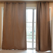 Souarts Grey Colour Artificial Leather Fabric Fully Lined Readymade Window Door Curtain Panel Scarf 1pc