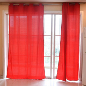 Souarts Red Colour 300D Map Floral Pattern Door Window Curtain Panel Sheer Scarf Valance 1pc
