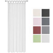Beautissu® Transparent Loop-Curtain Amelie - 140x245 cm White - Voile Decorative Curtain Loop-Curtain