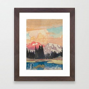 Framed Pictures Abstract Painting Poster Wooden Wall Poster Home Decor Framed Prints Ready to Hang for Living Room