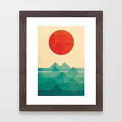 Framed Pictures Vintage Ocean Sunrise Sea Wave Framed Prints Art Ready to Hang Christmas Gifts to Friends